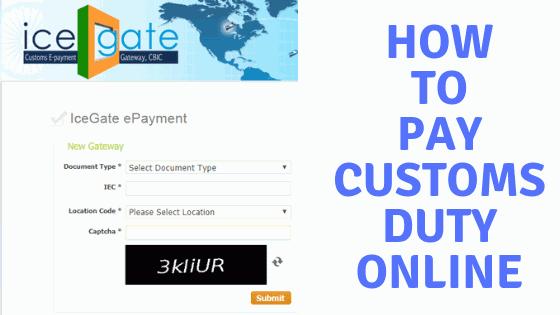Online Custom Duty Payment